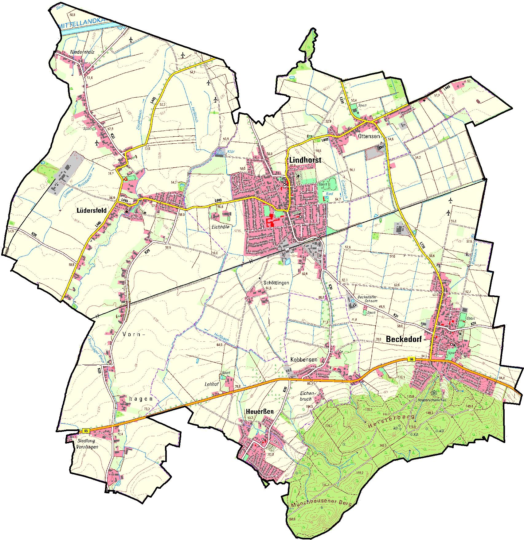 Kartenansicht der Samtgemeinde Lindhorst